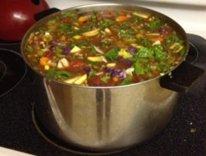 Minestrone soup with cabbage