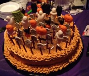 Peach filled spice cake